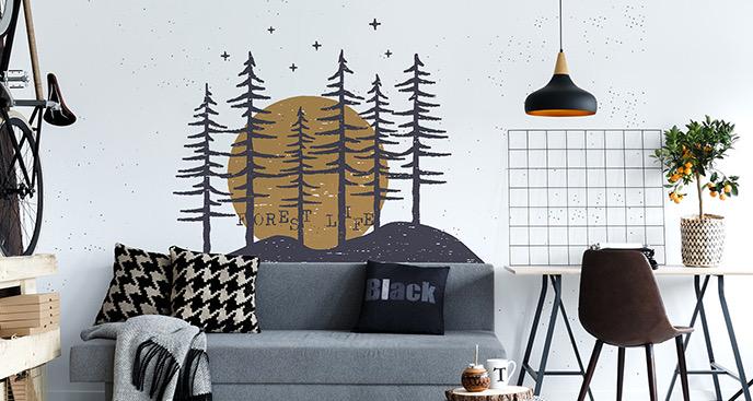 Typografischer Sticker Wald