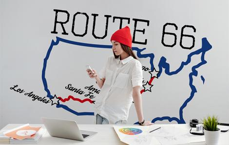 Wandsticker Karte - Route 66