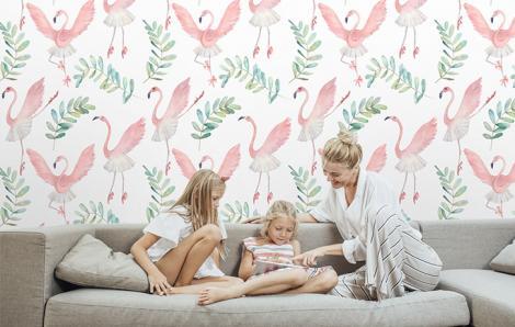 Wandtapete Flamingos
