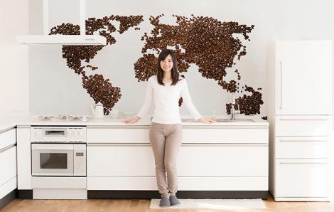 Weltkartenaufkleber für die Küche